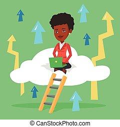 chmura, kobieta, laptop., handlowy, posiedzenie