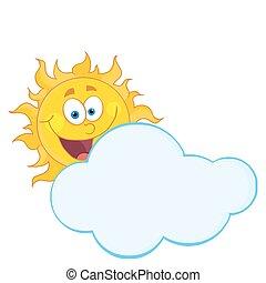 chmura, za, krycie, szczęśliwy, słońce
