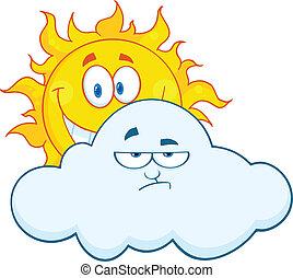 chmura, za, smutny, słońce, uśmiechanie się