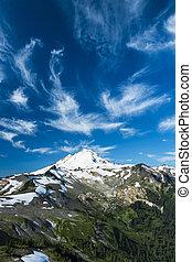 chmury, obsada, snowcapped, wysoki, pod, piekarz, chmura pierzasta