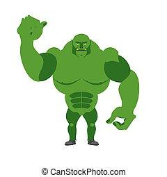 chochlik, gniewny, silny, monster., fantastyczny, stworzenie, straszliwy, zielony, tło., fantastyczny, cielna, biały