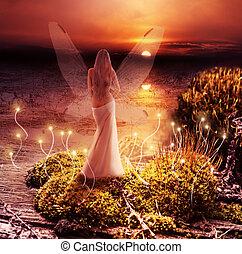 chochlik, world., magia, zachód słońca, kaprys