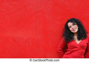 chodząc, ściana, dziewczyna, czerwony