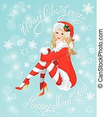 chodząc, święty, szpilka, claus, do góry, blond, garnitur, dziewczyna, stockin, boże narodzenie