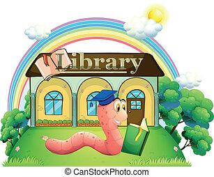 chodząc, czytanie, korona, skala, glista, biblioteka, przód