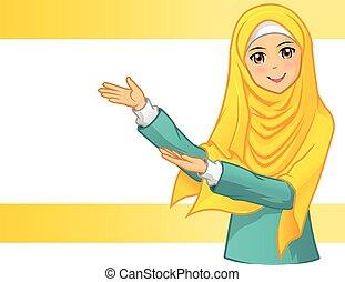 chodząc, kobieta, welon, żółty, muslim