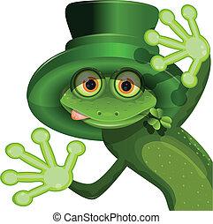 chodząc, patryk, żaba, zielony, święty, kapelusz