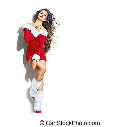 chodząc, piękno, boże narodzenie, scene., santa., kostium, sexy, partyjna dziewczyna, wzór, czerwony