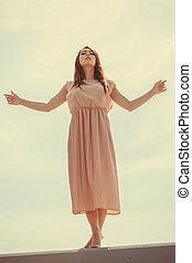 chodząc, różowy, kobieta taniec, lekki, długi, strój