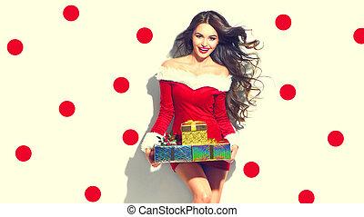 chodząc, scene., piękno, gwiazdkowe dary, santa., kostium, dzierżawa, sexy, partyjna dziewczyna, wzór, czerwony