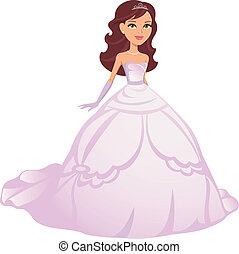 chodząc, suknia, dziewczyna, księżna, rysunek
