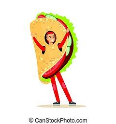 chodząc, udział, meksykańskie jadło, litera, mocny, kostium, fajitas, wektor, ilustracja, człowiek