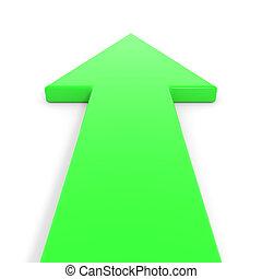 chodzenie, forward., zielony, strzała