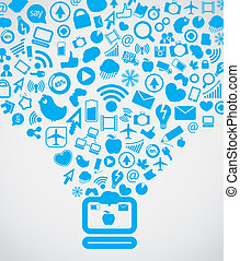 chodzenie, media, nowoczesny, na dół, komputer, towarzyski, zadowolenie