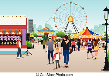 chodzenie, park, rozrywka, ilustracja, ludzie