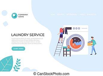 chorągiew, graficzny, płaski, concept., ilustracja, afisz, pralnia, projektować, służba, wektor