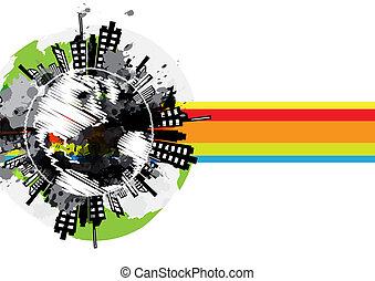 chorągiew, miejski, globalny, projektować, rysunek