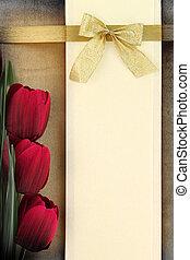 chorągiew, opróżniać, tło, czerwony, tulipany, rocznik wina