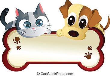 chorągiew, pies, kot