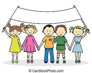 chorągiew, przyjaciele, dzieci