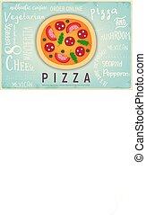 chorągiew, retro, pizza