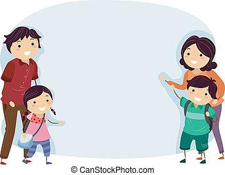 chorągiew, stickman, rodzina