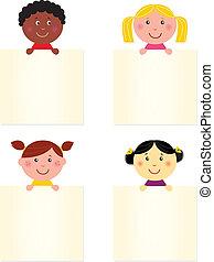 chorągiew, szczęśliwy, sprytny, dzieci, czysty, multicultural