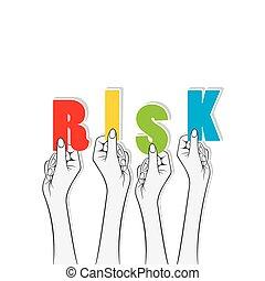 chorągiew, utrzymywać, projektować, ryzyko, ręka