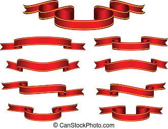 chorągiew, wektor, komplet, czerwona wstążka