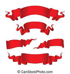 chorągwie, czerwony, (vector)