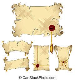 chorągwie, pergamin, woluta, odizolowany, starożytny