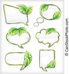 chorągwie, wektor, ilustracja, leaf.