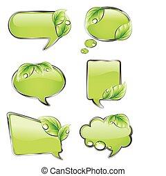 chorągwie, wektor, zielony, leaf.