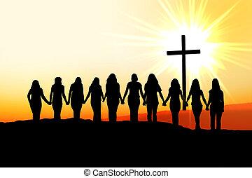 chrześcijanin, kobiety, przyjaźń, silhouette.