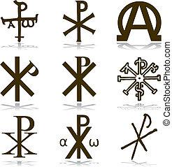 chrześcijanin, komplet, vector.