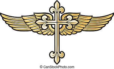 chrześcijanin, krzyż, skrzydło
