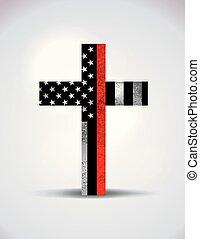 chrześcijanin, symbol, firefighter, poparcie, krzyż