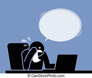 chusteczka do nosa, szloch, znowu, computer., płaczący, używając, płacz, człowiek
