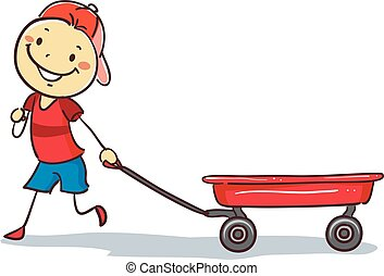 ciągnący, stickman, chłopiec, czerwona powózka
