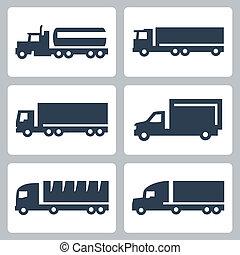 ciężarówki, ikony, komplet, wektor, widok budynku