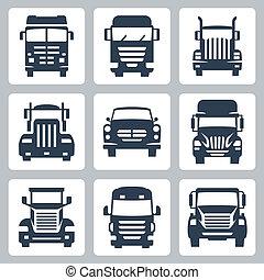 ciężarówki, ikony, odizolowany, wektor, przód, set:, prospekt