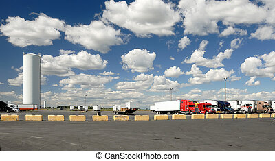 ciężarówki, parking