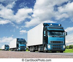 ciężarówki, przewóz, konwój, szosa, ładunek, pojęcie