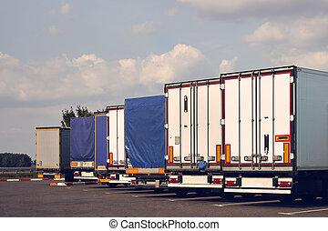 ciężarówki, wzory, nowoczesny, stop., wózek, różny, hałas
