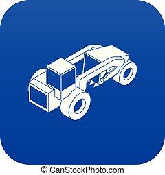 ciężki ładunek, błękitny, wektor, wózek, ikona