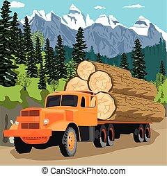 ciężki, góry, samochód wyróbki, las, załadowany
