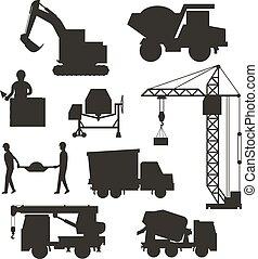 ciężki, gmach, komplet, sylwetka, wyposażenie, zbudowanie, maszyny, vector., przewóz, ikona