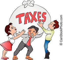 ciężki, tax., kobieta interesu, worek, wektor, biznesmeni, dzierżawa