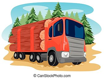 ciężki, wózek, wyróbka, las, załadowany