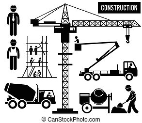 ciężki, zbudowanie, piktogram